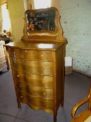 Antique Oak Dresser Highboy W Beveled Mirror Bureau
