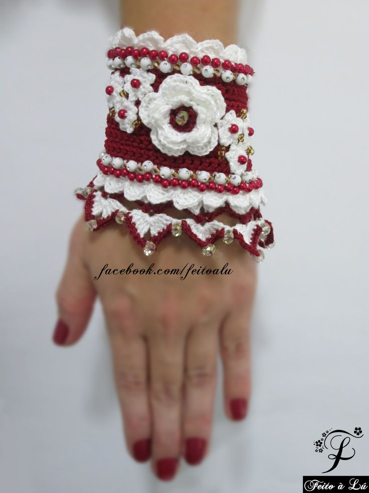 Marsala'n crystals (Special Edition) - Crochet Jewelry  Crochet cuff, adorned with crystals, white beads with gold dots and red beads. The colors are marsala and white. This Crochet Jewelry was made with high quality and resistant colors.    The distance from the button to its hole is 18cm.  #crochet #crochetjewelry #crocheting #bracelete #bangle #bracelet #fashion #beadedbracelets #crochetcuff #crochetbeadework #crochetroses #crochetflowers