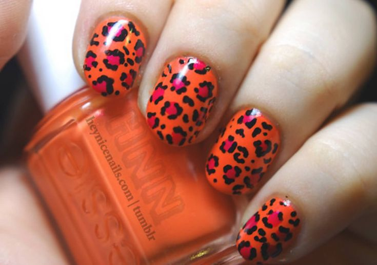 Orange And Black Leopard Print Nail Art