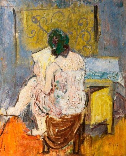 Alexandru Ciucurencu (1903-1977) - Femeie citind (Woman Reading) - post-impressionist