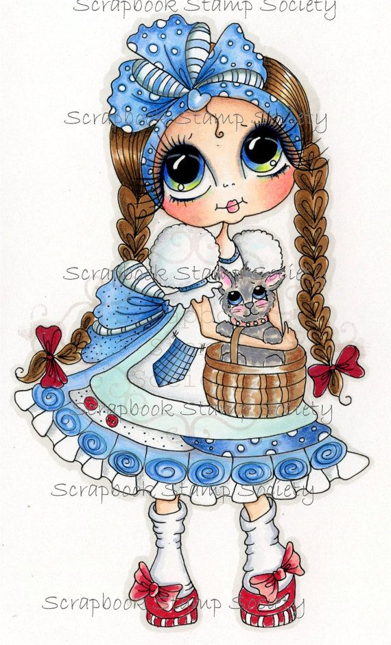 INSTANT DOWNLOAD Digital Digi Stamps Big Eye Big Head Dolls Digi   Besties Besties Of Oz IMG639 By Sherri Baldy via Etsy
