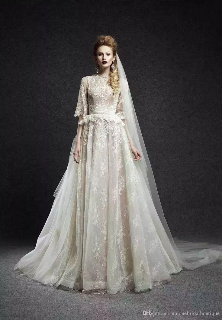 Ersa atelier 2018 long sleeve lace tulle wedding dress