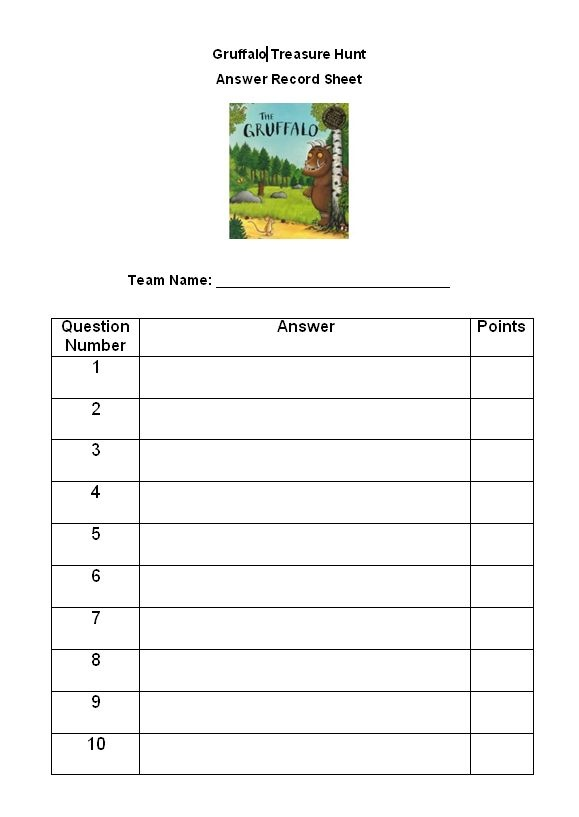 The Gruffalo Treasure Hunt - Clues and resources needed to conduct a fun Gruffalo Treasure Hunt.
