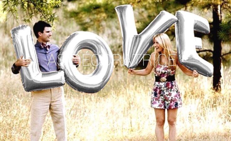 Ballons géants mariage LOVE argent ou doré décoration mariage photo booth