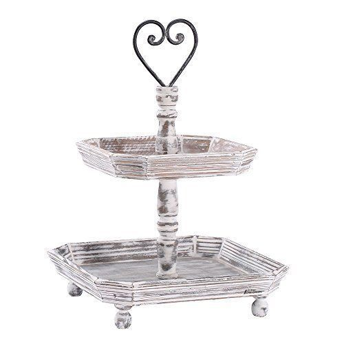 Ikee Design Antique Rustic-style Double-tiered Serving Tray, Beige