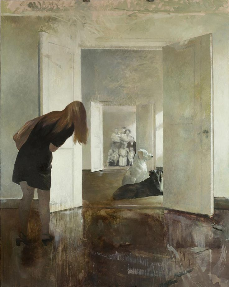 Lars Elling (Norwegian) Visning, tempera and oil on canvas
