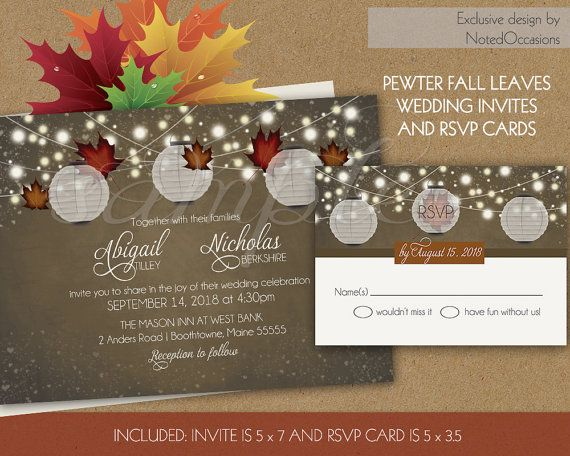 Rustic Fall Wedding Invitations Set With Paper By NotedOccasions