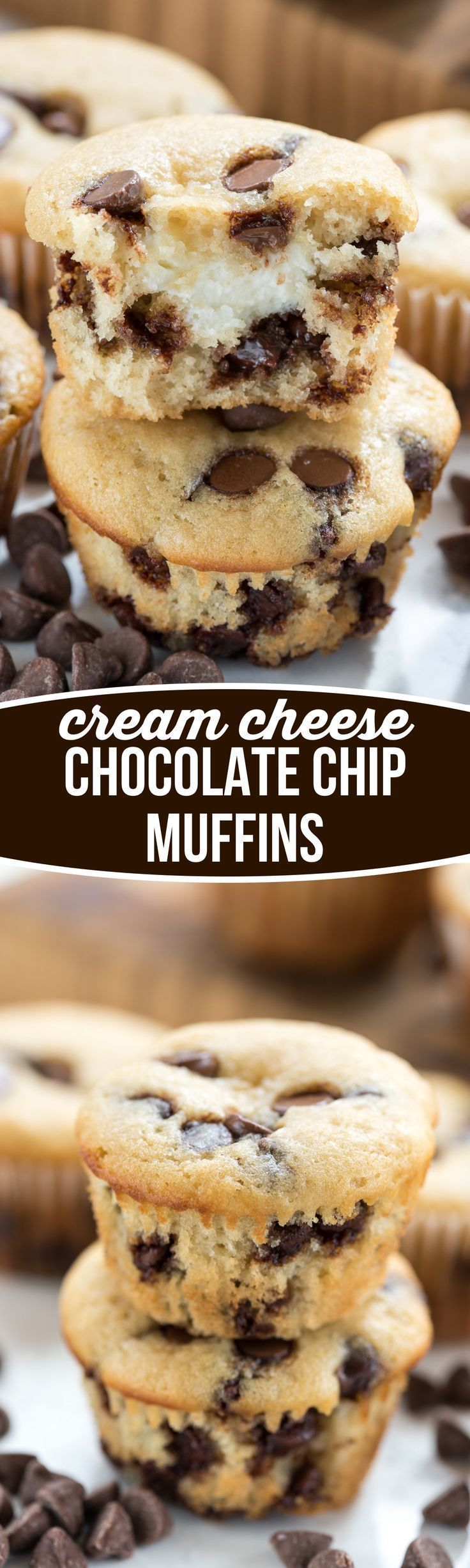 Cream Cheese filled Chocolate Chip Muffins - This easy muffin recipe is filled with chocolate chips and a sweet cream cheese surprise inside!