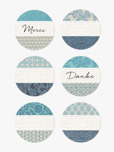 Etiketten - Etiketten JAPAN-PAPIER-Design türkis, 40 mm - ein Designerstück von lina-art bei DaWanda