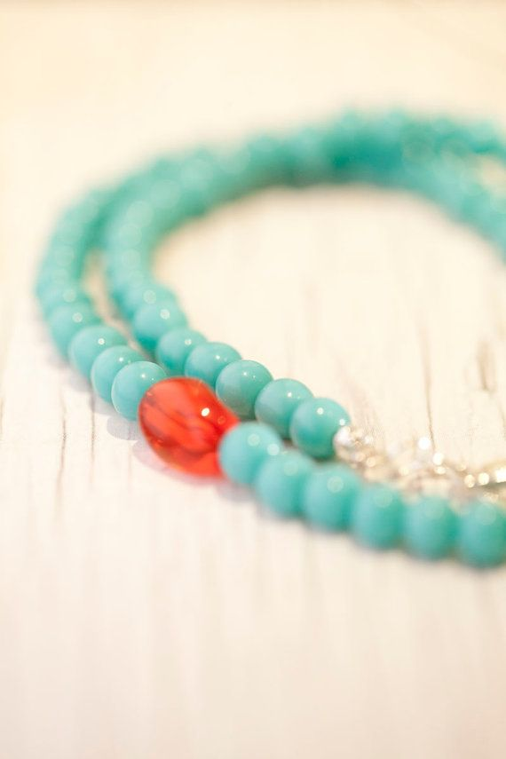 Turquoise Glass bead Necklace . Red glass bead by WhiteLilyDesign