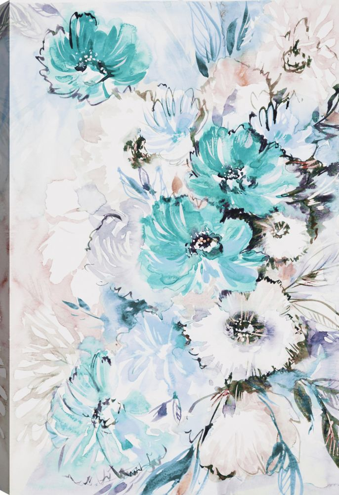 The Blue Flowers I Floral Art Printed Canvas Wall Art
