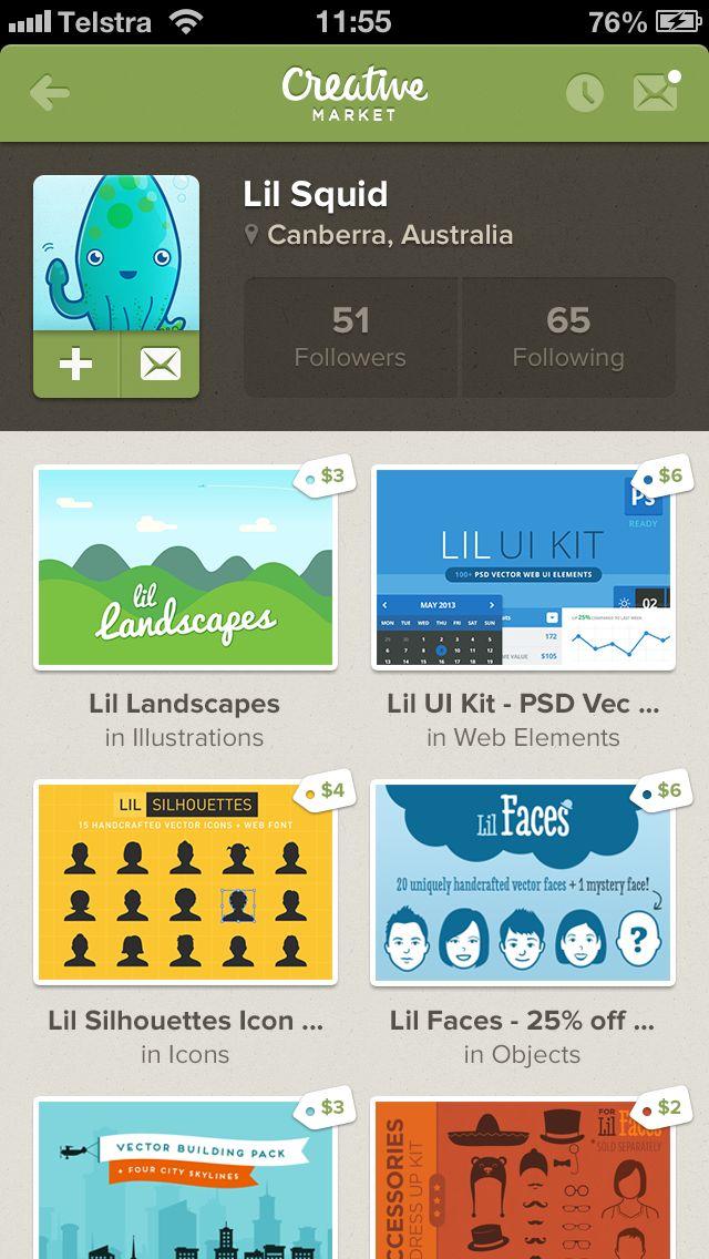 Creative Market iPhone App concept