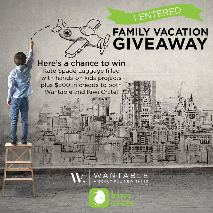 Win $1,500 in prizes including Kate Spade luggage, hands-on kids' projects from Kiwi Crate and $500 in credits credits to both Wantable and Kiwi Crate!