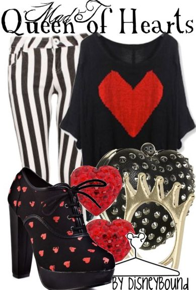 Striped leggings, check. Applique a long, loose black tee as shown. Mod Podge shoes and add own jewelry.