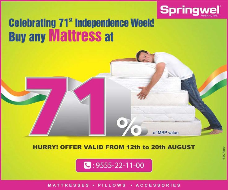 Avail Mattresses At 71 Of Mrp Springwel Celebrate 71st Independence Day With