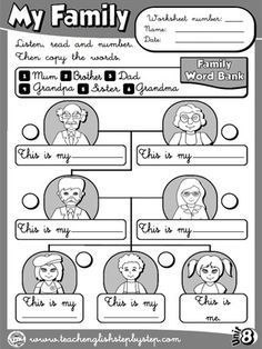 My Family - Worksheet 2 (B&W version)