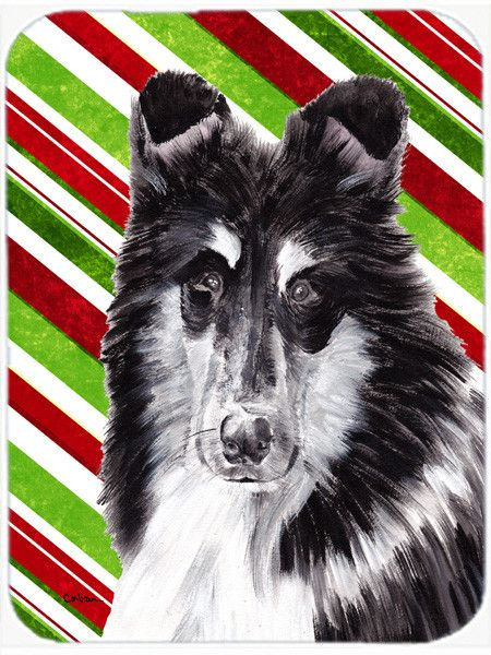 Black and White Collie Candy Cane Christmas Mouse Pad, Hot Pad or Trivet SC9798MP