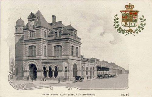 ST. JOHN, New Brunswick - Union Train Station vintage pc