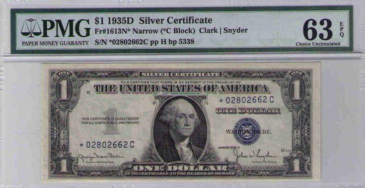 USA $1 1935D Silver Certificate,United States Fr#1613N* PMG 63 EPG CHOICE U