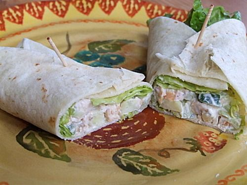 Crunchy Chicken Salad Wraps for 6 WW points from Recipe Girl