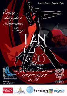 """""""Είναι αγκαλιά, είναι μουσική, είναι χορός, είναι επικοινωνία..είναι η αφορμή της συνάντησης.."""" Μια βραδιά αργεντίνικου Tango.... Tango Rojo Κόκκινο Τάνγκο...Με μια Open Air Milongaτην Παρασκευή 7 Ιουλίου 2017 και ώρα 21:30 υποδέχεται..."""