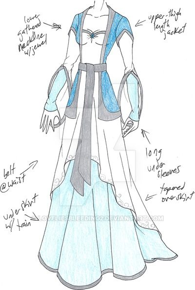 PLEASE NOTE: I do not allow any use of my designs. Pretty, flowy blue dress with a distict LotR flavor to it.
