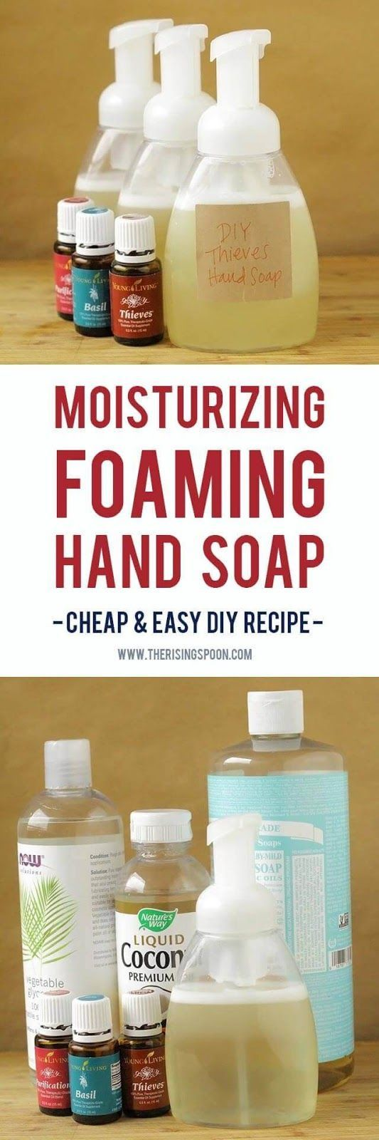 Want to make your own foaming hand soap at home? It's not hard! Try my super easy DIY recipe using a few simple and non-toxic ingredients like liquid castile soap, water, moisturizing liquid carrier oils, and essential oils. This homemade version costs pe