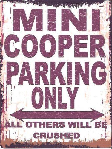 MINI COOPER PARKING METAL SIGN RETRO VINTAGE STYLE SMALL | eBay