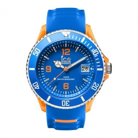 Ice-Watch Ice Sporty Blue-Orange Big XL SR.3H.BOE.BB.S.15. Stoer en sportief ICE WATCH horloge met blauw-oranje kast en blauwe-oranje siliconen band. De kunststof kast heeft een metalen rand, een blauwe wijzerplaat met oranje index en wijzers. Het is bovendien voorzien van datumaanduiding. De band is aan de buitenkant blauw en aan de binnenkant oranje. Het sluit door middel van een gespsluiting.