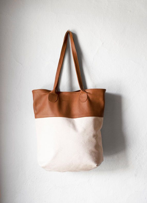 Canvas Leather Tote Bag by morelle