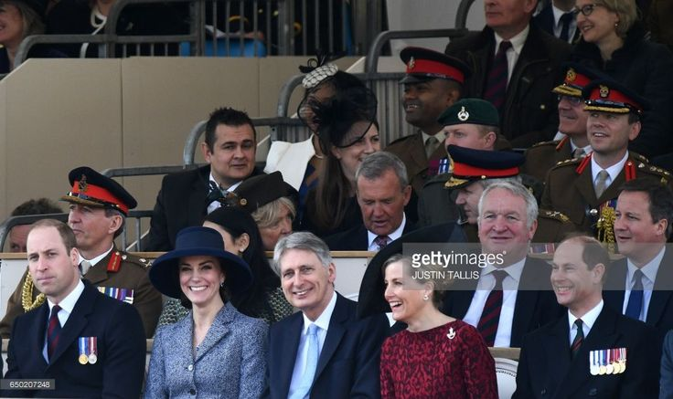(Front row, L-R) Britain's Prince William, Duke of Cambridge, Britain's Catherine, Duchess of Cambridge, British Chancellor of the Exchequer Philip Hammond, Britain's Sophie, Countess of Wessex, and Britain's Prince Edward, Earl of Wessex attend a Service of Commemoration and Drumhead Service on Horse Guards Parade in central London on March 9, 2017, which honours the service and duty of both the UK Armed Forces and civilians in the Gulf region, Iraq and Afghanistan, and those who supported…