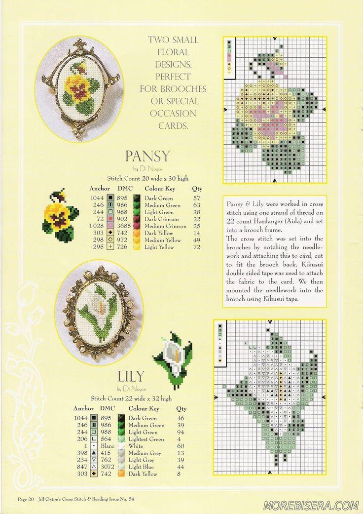 Схемы для вышивки брошек по канве - Цветы - Схемы плетения бисером - Сокровищница статей - Плетение бисером украшений, деревьев и цветов, схемы мк