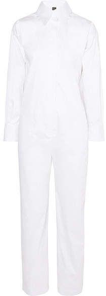 Norma Kamali - Belted Cotton Jumpsuit - White