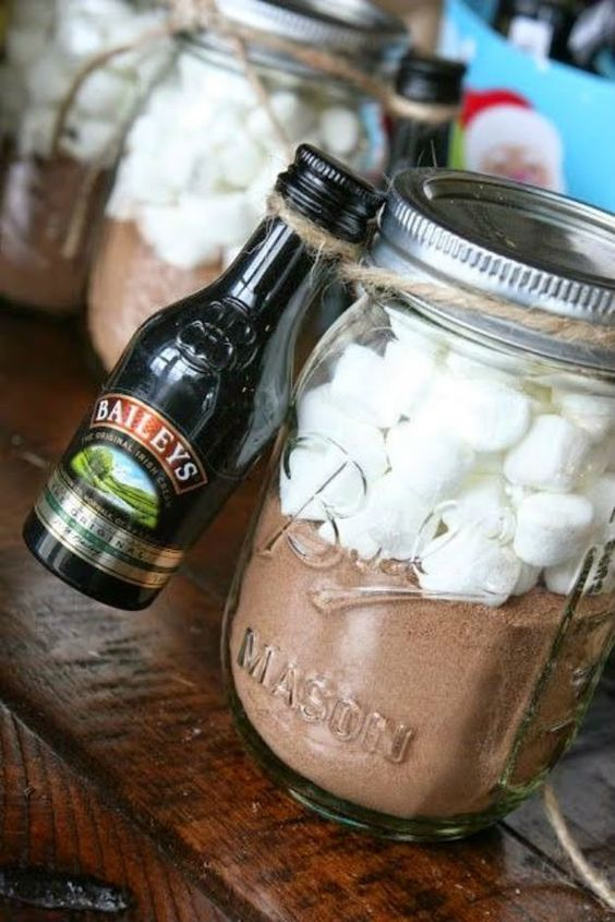 Very simple and easy DIY mason jar craft project homemade gift idea - hot chocolate mix and marshmallows in a mason jar with a shot of something adult on the side.