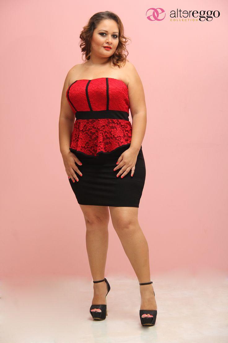 #moda #tallas #extra #plus #vestido #gorditas #llenitas #curvy #girl #vivan #las #curvas #otoño #invierno #2014 #nueva #coleccion #encaje #peplum #negro #red #aurora #sexy