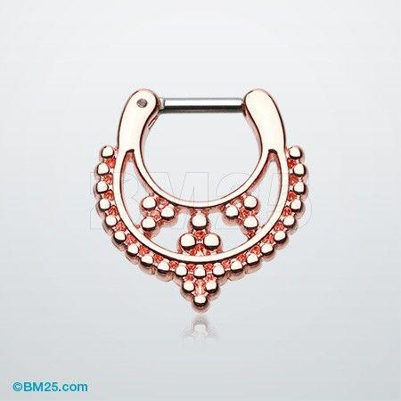 Rose Gold Royal Filigree Septum Clicker