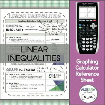 This graphing calculator reference sheet guides students step-by-step on how to graph a linear inequality and systems of linear inequalities.Teaching graphing calculator skills help students with: SpeedMaking connectionsChecking for accuracyLeaping hurdles*Reference sheet can be used with a TI-83 or TI-84 graphing calculator.Please look at the preview to find out more information about this resource.Check out more graphing calculator sheets here or get all of them...Graphing Calculator…