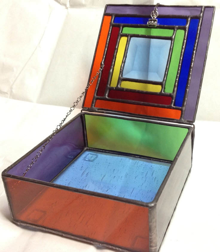 stained glass jewelry box colorful geometric trinket. Black Bedroom Furniture Sets. Home Design Ideas