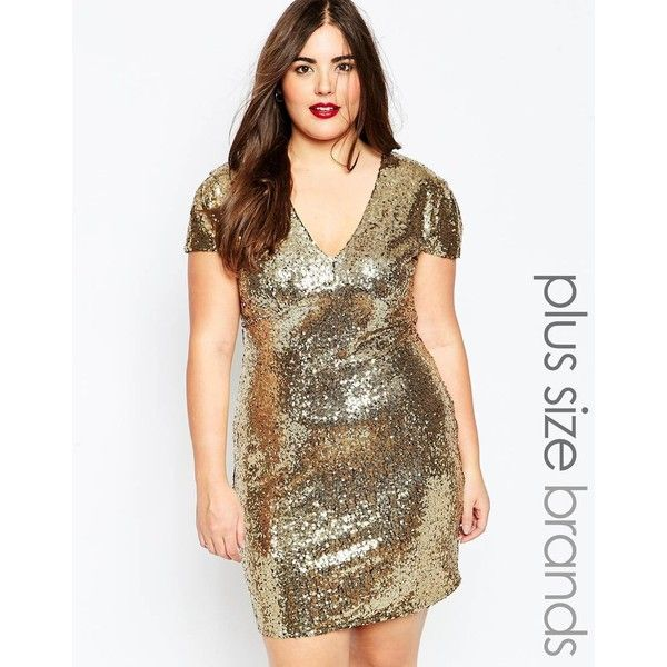 Club L Plus Size Sequin Dress With V Neck ($41) ❤ liked on Polyvore featuring dresses, gold, sequin embellished dress, club l dresses, gold sequin cocktail dress, vneck dress and club l
