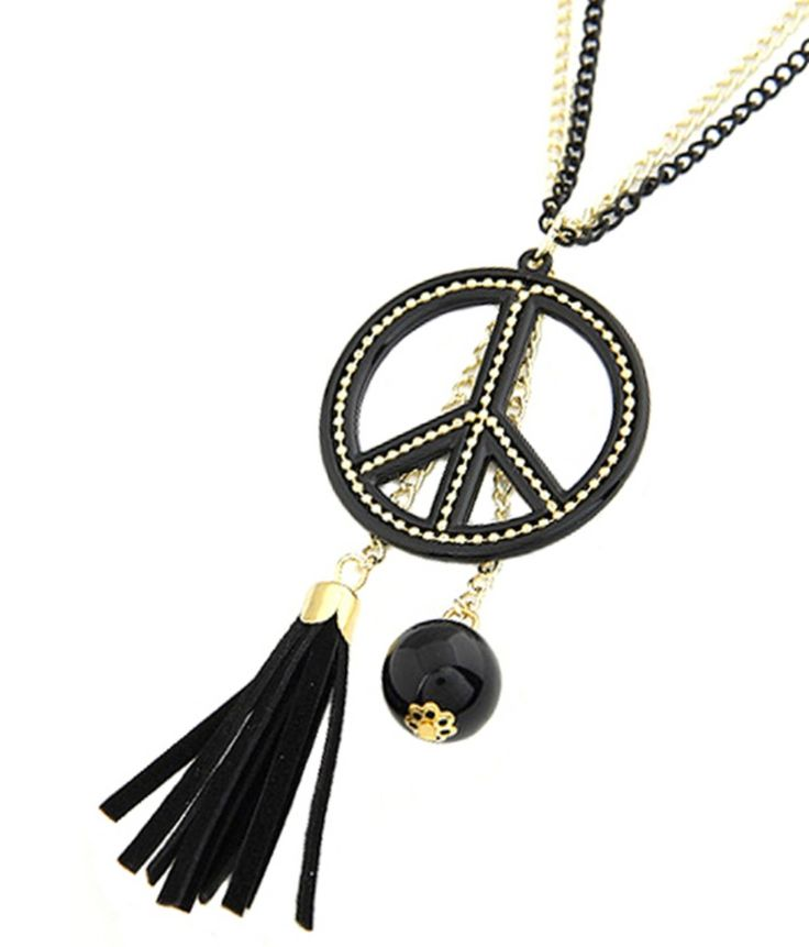 Tassel Peace Double Chain Necklace