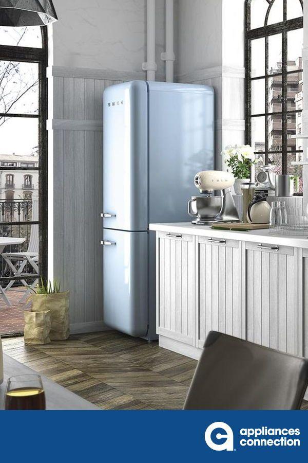 Smeg Fab32upbrn 50s Retro Style Series 24 Inch Pastel Blue Bottom Freezer Refrigerator In Pastel Blue In 2020 Retro Refrigerator Retro Lighting Bright Decor
