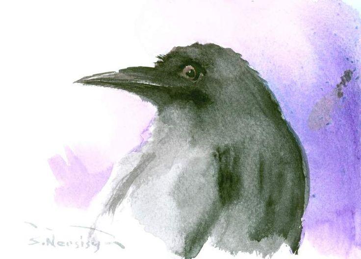 Crow kunst, Raven kunst, originele aquarel, kleine schilderij, 7 X 5 zwart-wit kunst, kraai minnaar, raven minnaar door ORIGINALONLY op Etsy https://www.etsy.com/nl/listing/248010205/crow-kunst-raven-kunst-originele-aquarel