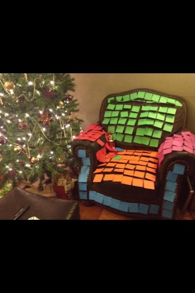 Elf Sticky Note Chair. Sticky Noting is hot right now! #elfontheshelf