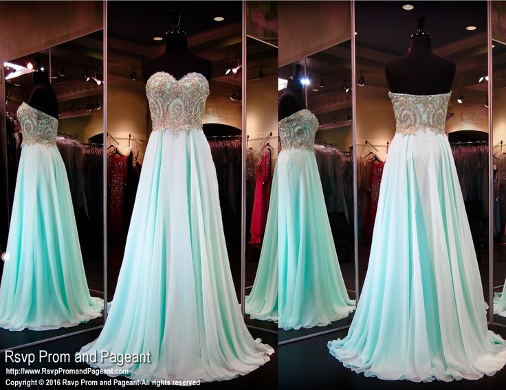 This mint gown is super elegant and fun at the same times. Its sweetheart strapless bodice is covered with beautiful gold embellishments cascading into a flowing chiffon skirt. So pretty and it's at Rsvp Prom and Pageant, your source for the hottest 2016 Prom Dresses!