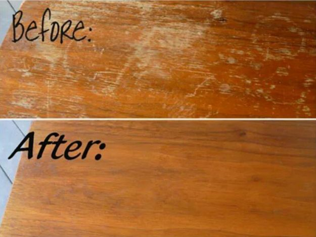You can use 1/4 cup of vinegar and 3/4 cup of olive oil to remove scratches from wooden furniture. | 21 Instagram Cleaning Hacks That Are Borderline Genius
