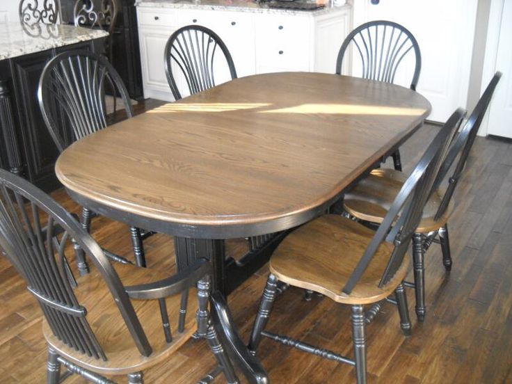 Dining Sets Two-Color | Refinished oak dining set two-toned