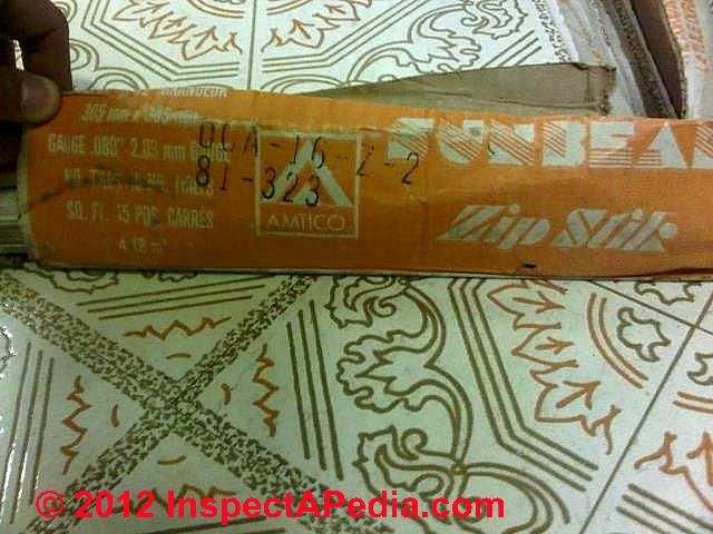Vinyl asbestos self adhesive floor tiles containing CHrysotile asbestos (C) D Friedman PT