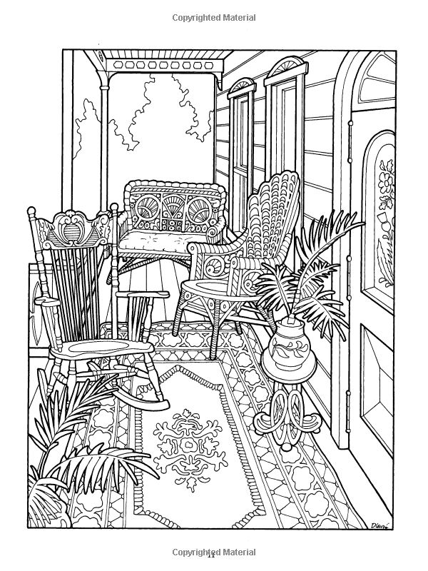 victorian porch coloring page the victorian house coloring book dover history coloring book daniel lewis kristin helberg - Dover Coloring Books For Adults