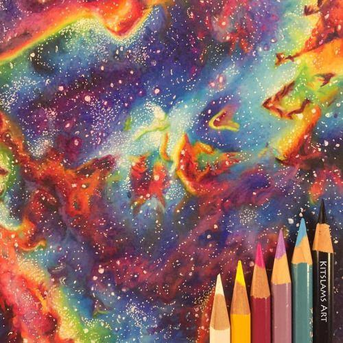 Nebula pencil color drawing by @kitslam | https://youtu.be/THVU7JB1lrE
