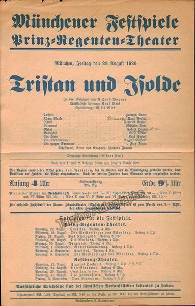Tristan und Isolde - Munich 1926 Playbill - Karl Muck